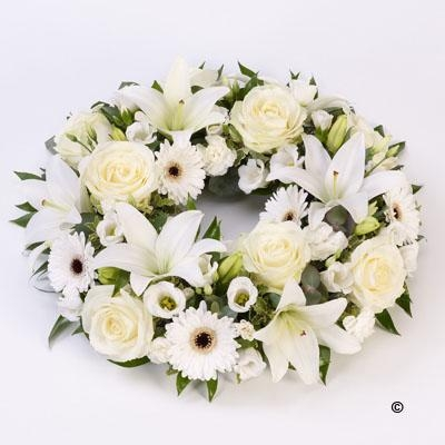 Rose and Lily Wreath   White